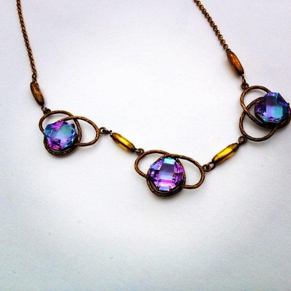 art deco necklace  /  crystal necklace  /  1930s antique necklace