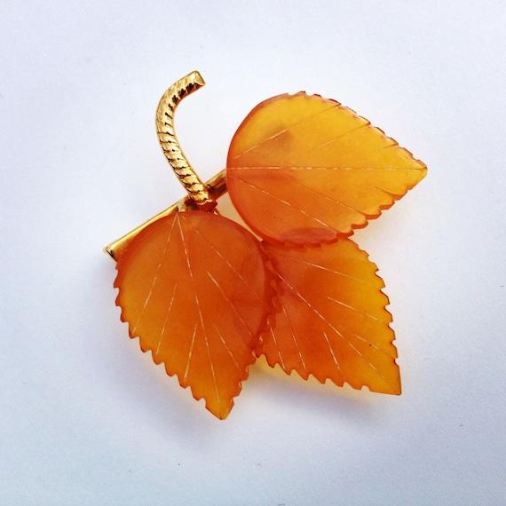 Russian Amber Leaf Brooch 1940s Antique Leaf Brooch
