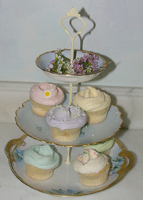 Floral 3 Tier Cake Cookie  Plate or Stand, Candy Dish -  Blues, Yellow and Gold Vintage China Shabby Chic - Free Shipping