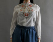 RESERVED floral kimono embroidered blouse xs. s small