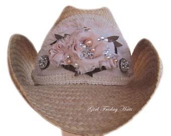 Silk Roses. Rhinestone & Pearls Handmade Embellished Designer Cowboy Hat