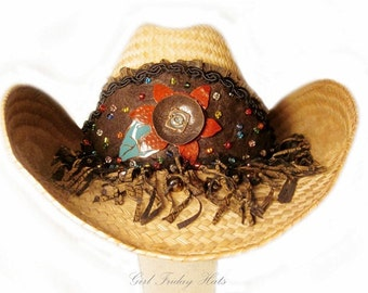 Bohemian Fire Gypsy Embellished Cowgirl Hat - Indie Style Flower With Colorful Glass Seed Beads & Fringe