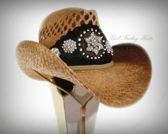 Cowboy Cowgirl Hat.  As seen in OK Magazine. Crystal Embellished Cowgirl Hat