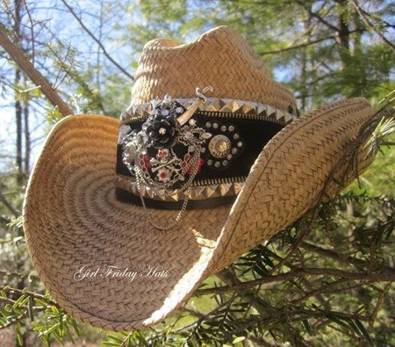 Jolly Roger embellished cowgirl hat