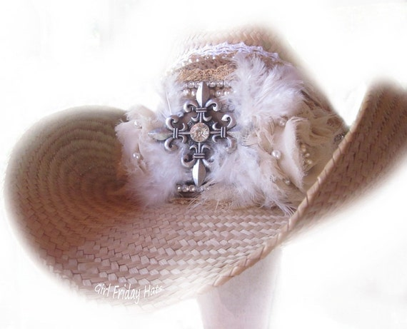 Cowboy Cowgirl Hat Embellished Cross and Roses