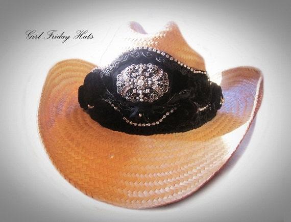 Black Velvet Embellished Cowgirl Hat.