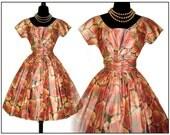 Vintage 1950s Designer Suzy Perette Dress Full Skirt Femme Fatale Garden Party Mad Man Prom Pinup Bombshell Rockabilly Ballerina Cupcake