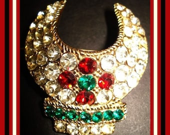 Vintage Designer Signed Rhinestone Brooch Red Green Chaton Rhinestones pin glamour pinup career office cocktail party dress