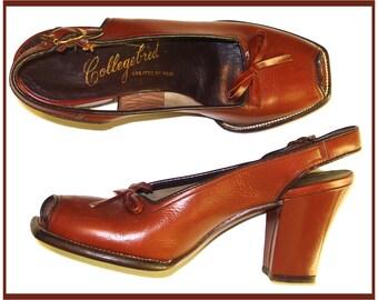 Vintage 1940s Heels Size 4B pumps Sling back Open Toe heels Rockabilly Swing Pinup Bombshell Garden Party Prom Cocktail Dress