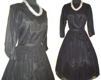 Vintage 1950s Dress  .  Black Chiffon Rockabilly Mad Man Garden Party Bombshell Pinup Large Plus Size Cocktail Prom Wedding