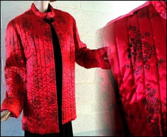 Vintage Oriental Asian Signed Red 50s 60s Jacket Gorgeous bombshell pinup swing garden party career cocktail dress coat