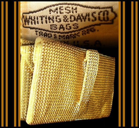 Vintage Gold Whiting & Davis Designer cocktail party prom elegant dress gold metal mesh sexy purse bombshell pinup couture clutch bag rockabilly garden party wiggle retro sexy dress purse