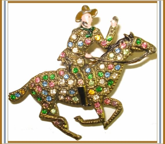 Vintage 1950s 50s Hopalong Cassidy Enameled Rhinestone Brooch Pin Horse Cowboy Dress Garden Party Man Men Designer Cocktail Gown Suit Coat