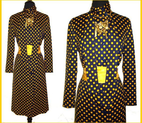 Vintage 1970s Dress . Pauline Trigere .  Femme-Fatale Couture Mad Men Pencil Wiggle Illusion Hourglass Garden Party Pinup Cocktail