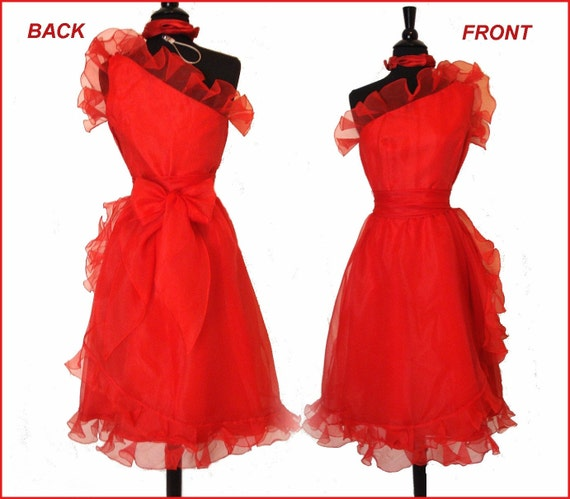 Vintage 1950s Dress .  Red . Dynamic One Shoulder Asymmetrical Chiffon Femme Fatale Couture Cocktail Garden Party Mad Man Pinup Rockabilly
