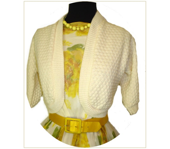 Vintage 1950s Crème Bolero Sweater Jacket Rockabilly Mad Man Garden Party Prom Couture Femme Fatale