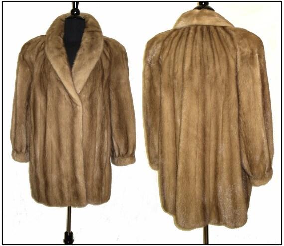 Reserved Vintage Mink Coat . Real Fur . Stroller Pastel Demi Buff Jacket Mad Men Pinup Garden Party Rockabilly Dress Stole Shawl Shrug