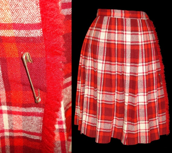 Vintage Late 1950s Early 1960s Skirt Pinup Retro Garden Party Rockabilly Red Wool Mad Men Designer Career Pleated Dress