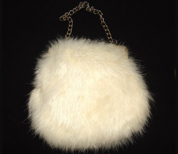 Vintage 1930s 1940s Antique White Real Fur Purse Handbag Clutch Mad Men Art Deco Art Nouveau Swing garden party prom dress gown couture