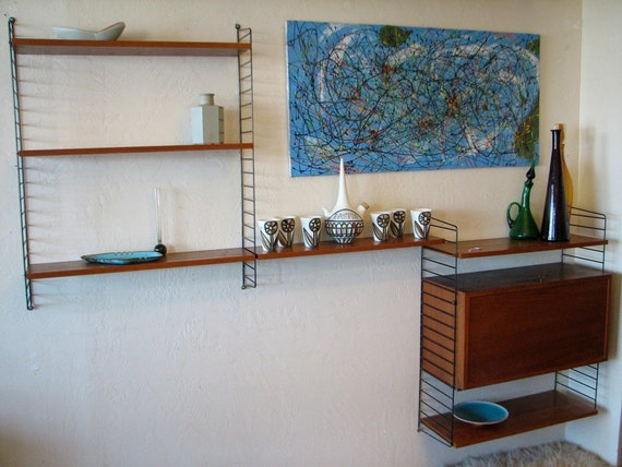 Vintage Wall Unit: 50's Swedish String Wall Shelf. Mid century modern modular wall shelving with storage cabinet (1950's)