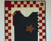 Primitive Fat Chicken Table Runner Wall Hanging Checkerboard Quilt
