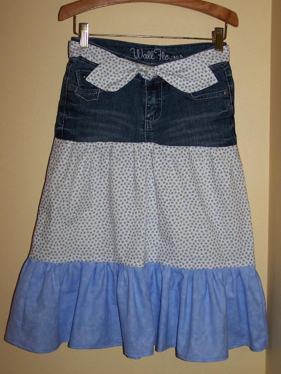 Girls Long Modest Denim Jean Ruffle Skirt Matching Tie Belt 8
