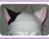 white cat ears anime hat with one black ear