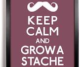 Keep Calm and Grow A Stache (Mustache) 5 x 7 Print Buy 2 Get 1 FREE Keep Calm and Carry On Keep Calm Parody Keep Calm Poster