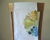 Flour Sack Tea Towel with Dresden Plate in Yellow, Green, and Blue