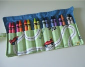 Reserved for Cat Crayon Roll with 16 Crayons Race Car Print Ready to Ship