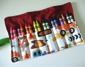 Reserved for Holly- Crayon Roll 16 Crayons in Construction Vehicle Print Ready to Ship