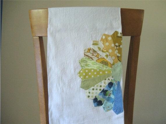 Customized Flour Sack Tea Towel with Dresden Plate Embellishment Choose Your Colors