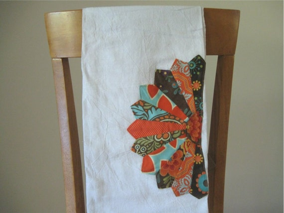 Flour Sack Tea Towel with Dresden Plate Embellishment in Orange, Teal, and Brown Ready to Ship