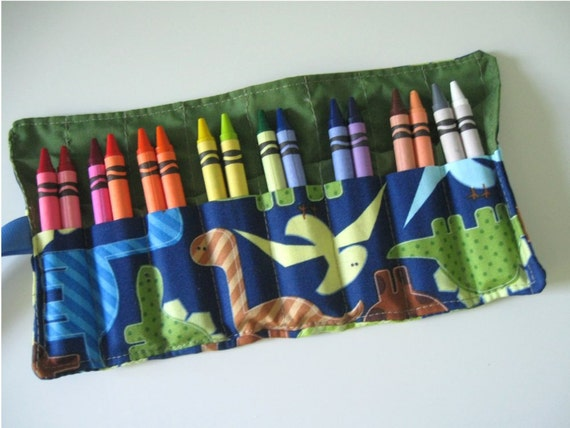 Reserved for Tricia- Crayon Roll with 16 Crayons Dinosaur Print Ready to Ship