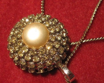 Classy Domed Rhinestone and Faux Pearl Necklace on Silverlook Chain - Nice Bling