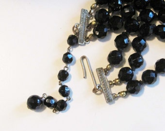 Basic Black Three Strand Glass Bead Necklace with Goldtone Clasp - Vintage 40's to 60's
