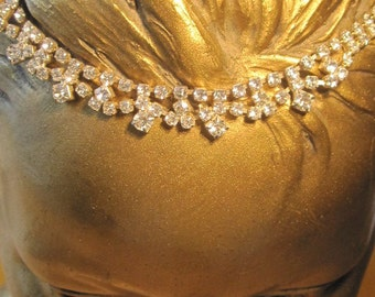 Oblique Mounted Clear Crystal Rhinestones in Interesting Pattern - Vintage Necklace - Bride Bling