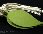 Tags: Dark Green Leaves with Cotton String - set of 12