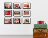 London Postcard Set, red - Set of 9 Fine Art Photography Postcards of London in Red