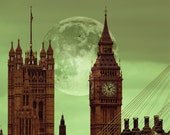 Big Ben, London Photography - Fairy Tale of London, green, full moon