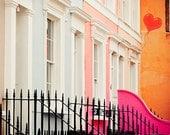 "Notting Hill print, London decor, Notting hill art print, London colorful houses - ""Notting Hill"""