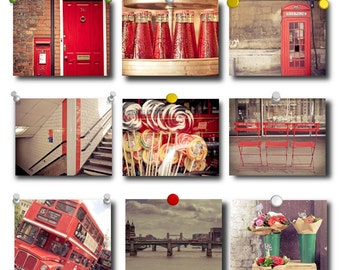London Photography -  London in Red photos - Set of Fine Art Photography Prints  - 9 8x10 photos of London, England