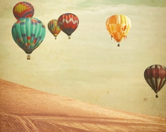 Hot Air Balloon Photography - Wanderers - Fine Art Photograph of Hot Air Balloons floating in England