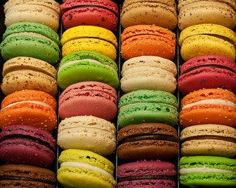 French Macarons/Macaroons - Fine Art Photograph of green,pink,orange,brown, and purple macarons in Paris