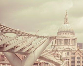 London Art Photography, Fine art photograph of St. Pauls Cathedral and Millenium Bridge in cream and green