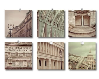 Off London Photo Collection - The Rhythm of London Set of Fine Art Photographs in cream and green