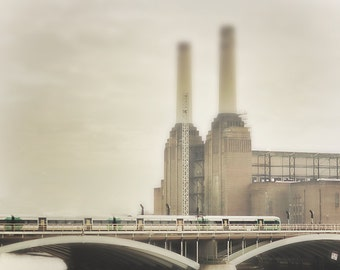 "London Photograph, Train at Battersea Power Station, London decor -  ""Last Train to London"""