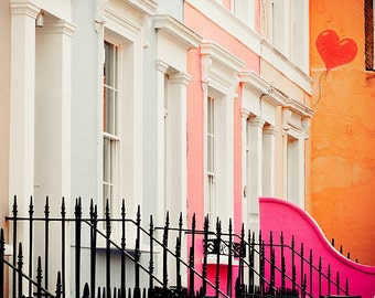 "Notting Hill print, London decor, Notting hill art print, London colorful houses - ""Notting Hill"""