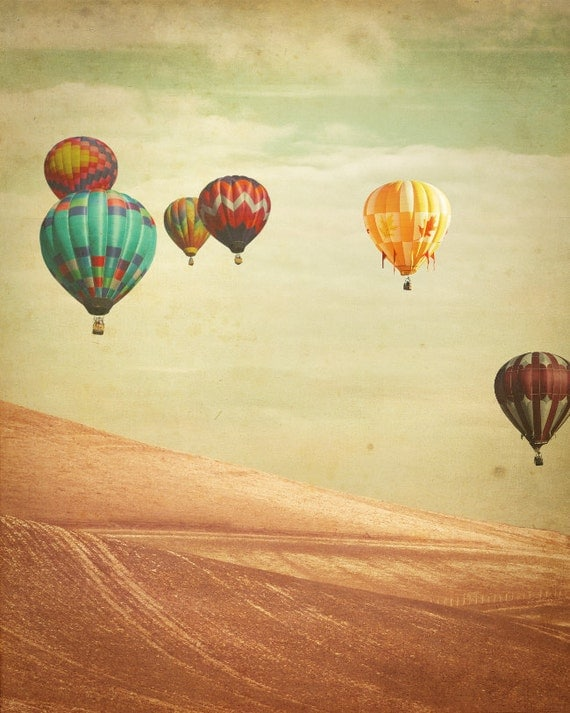 SALE: 25% Off Hot Air Balloon Photography - Wanderers - Fine Art Photograph of Hot Air Balloons floating in England