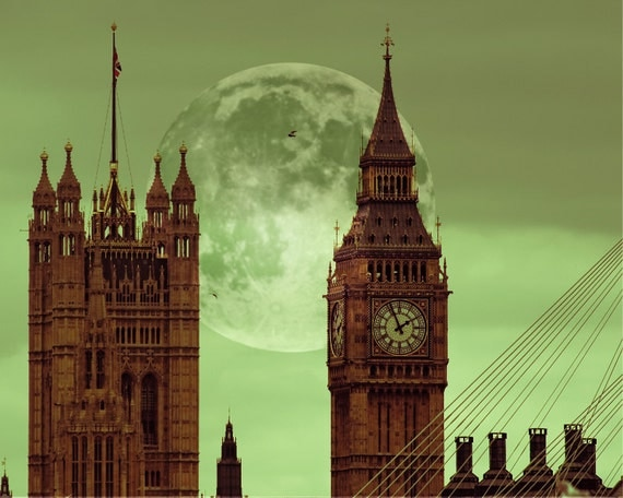 Big Ben print, London Print, London Photography - Fairy Tale of London, green, full moon